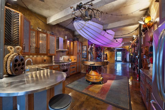 Steampunk kitchen features a dirigible kitchen light