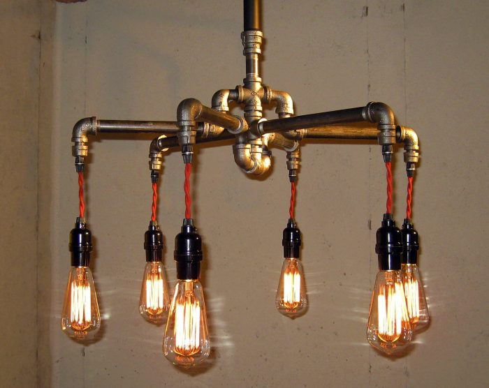 This steampunk chandelier lights up the kitchen.