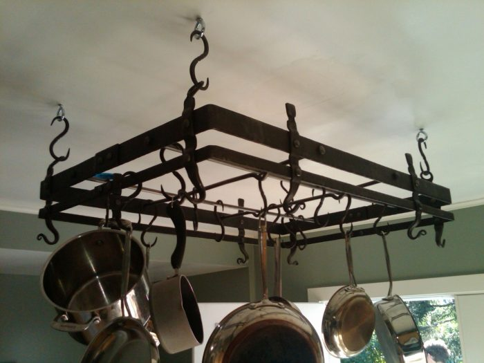 steampunk pot rack is a must