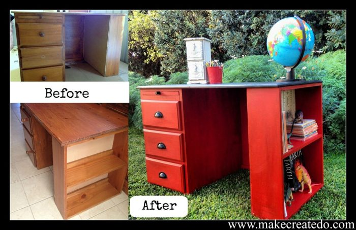 bright red desk makes a fun statement
