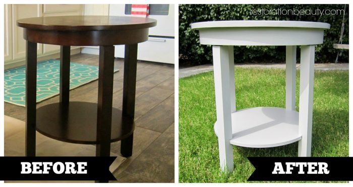 white refinished end table
