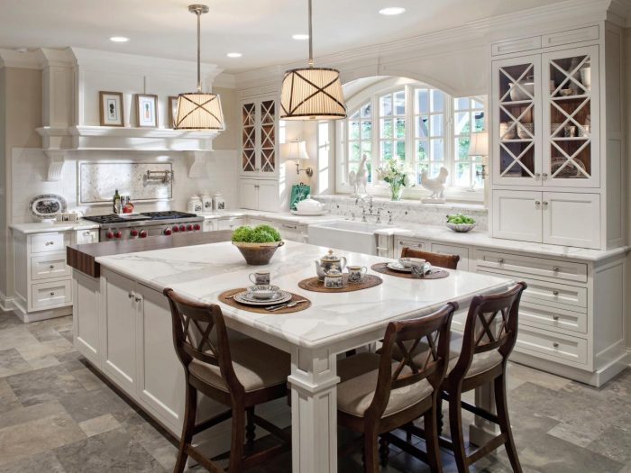 Kitchen island with seating on two sides invites conversation. (hgtv.com)