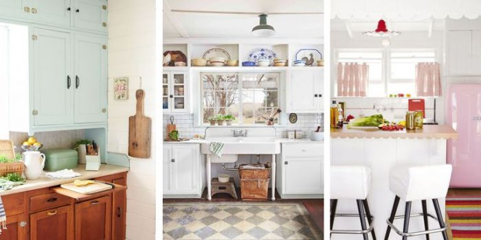 This trio of country kitchens has a simple 1940s appeal.