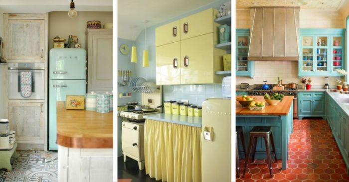 Aqua walls and yellow cabinets take us back to the 1950s. Again, I love the curtains to replace the cabinet doors on the middle photo