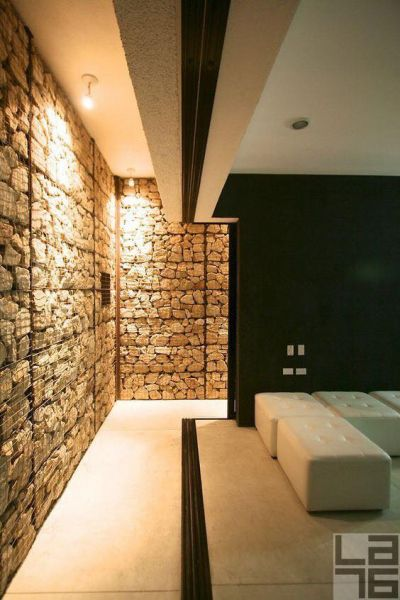 Of course, you can think outside the box and use gabion walls to enhance your interior space.