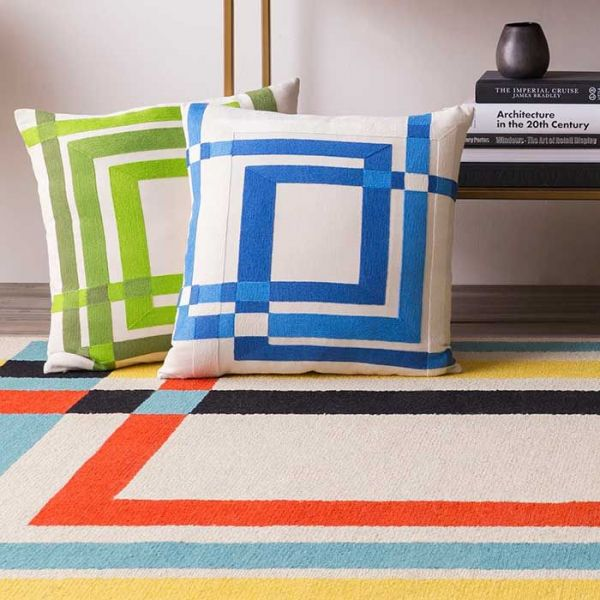 textiles in the form of pillows and rugs