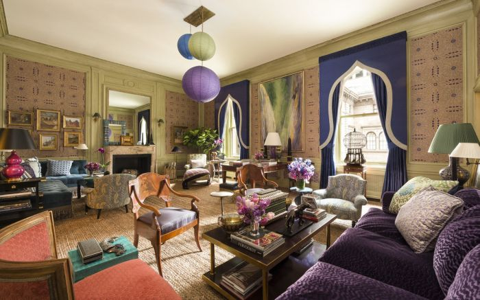 Purple and green mesh for elegance in this room designed by Alexa Hampton for the Kips Bay Decorator Show House 2014
