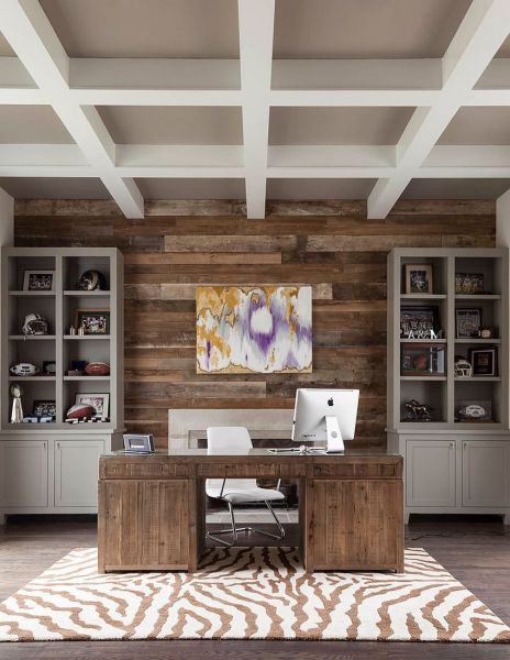 Home office with wood accent wall (decoist.com)