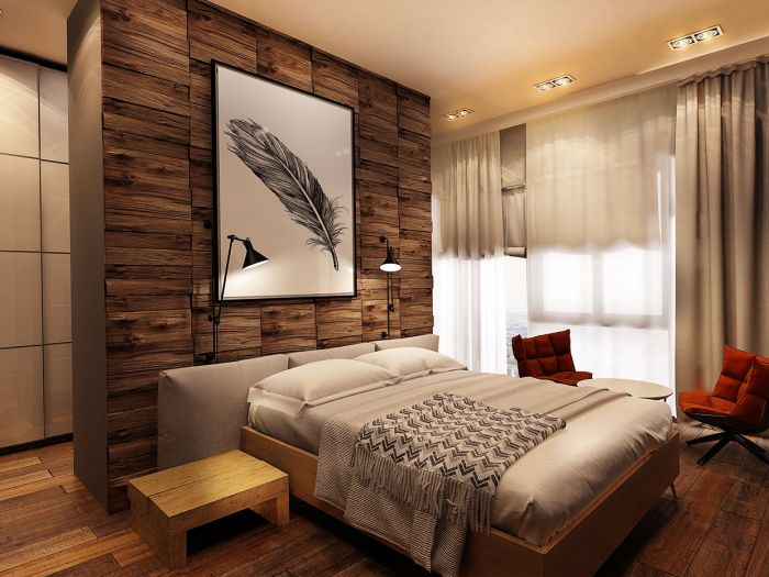 A wood accent wall adds interest and depth to this bedroom (designtrends.com)
