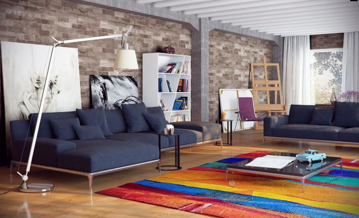 A bright rug grounds the space and introduces color (home-designing.com)