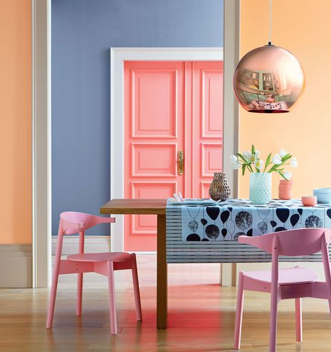 A variety of pastel colors adds interest (House Beautiful)