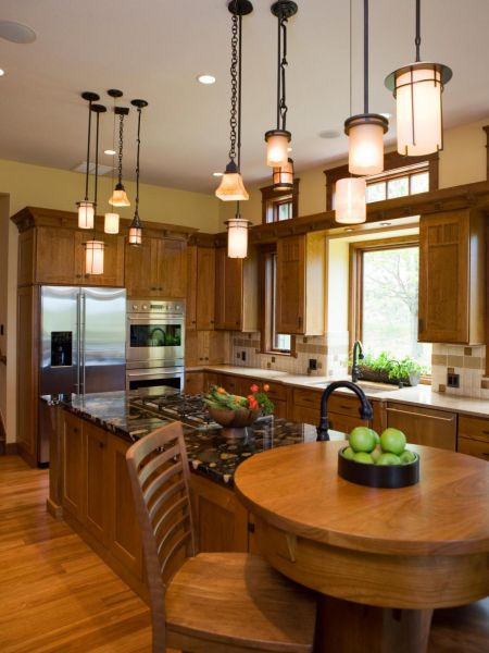 Pendant lights at varying heights add interest to the kitchen island (midcityeast.com)