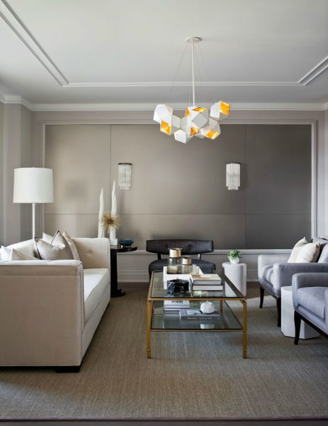 Unique modern lighting in this stylish living room (mydesignchic.com)