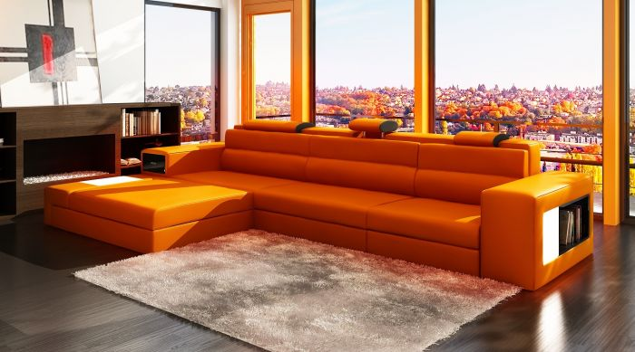 Interesting Design Interior Orange Furniture Room That Has Cream Rug On The Wooden Floor