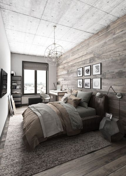 A wood accent wall behind the bed is a dramatic accent (Pinterest)