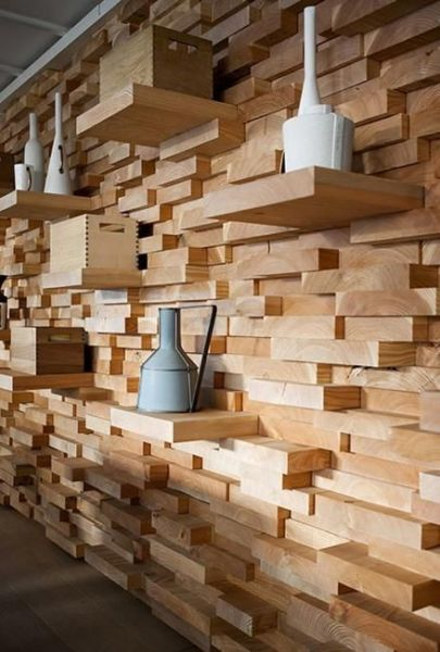 A unique wood accent wall (Pinterest)