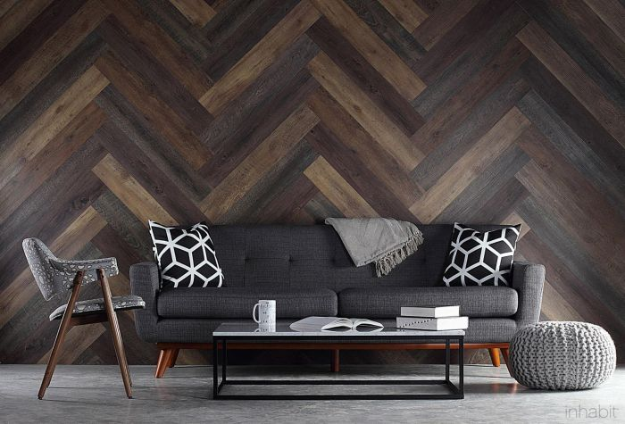 Herringbone pattern accent wall (Pinterest)