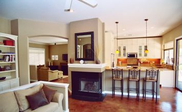 Home staged for resale - family room, kitchen