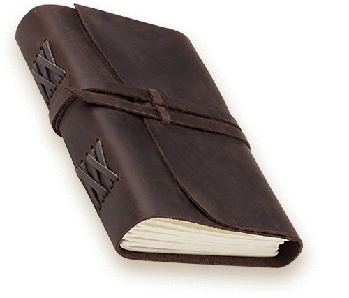 Take notes in style in a leather-bound journal by Jofelo