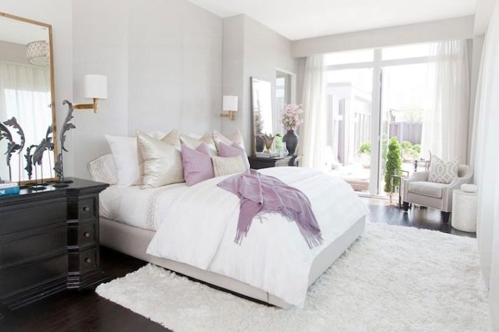 Pastel bedroom with soft gray walls paint color