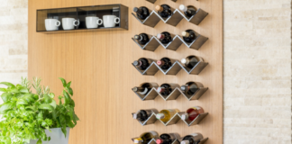 Wine-bottle décor in kitchen