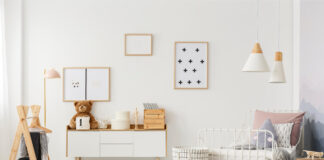 designer accessories and posters on a white wall