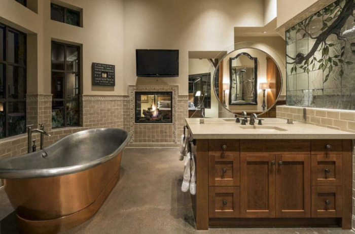 Craftsman bathroom with nice combination of different patterns and textures.
