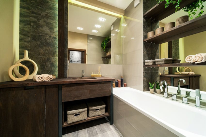 This small bathroom space is able to fit in a vanity and a small bathtub,