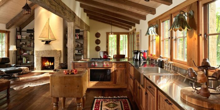 Petite Guest Lodge with Reclaimed Wood Floors and Beams