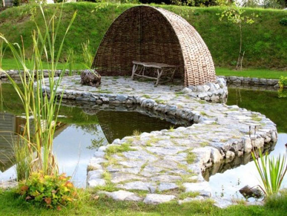 Incorporate furniture to add pathway thorugh your water garden