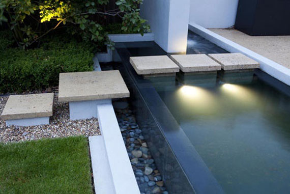 Modern Stepped up water garden