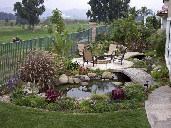 Incorporate furniture to add function to water gardens