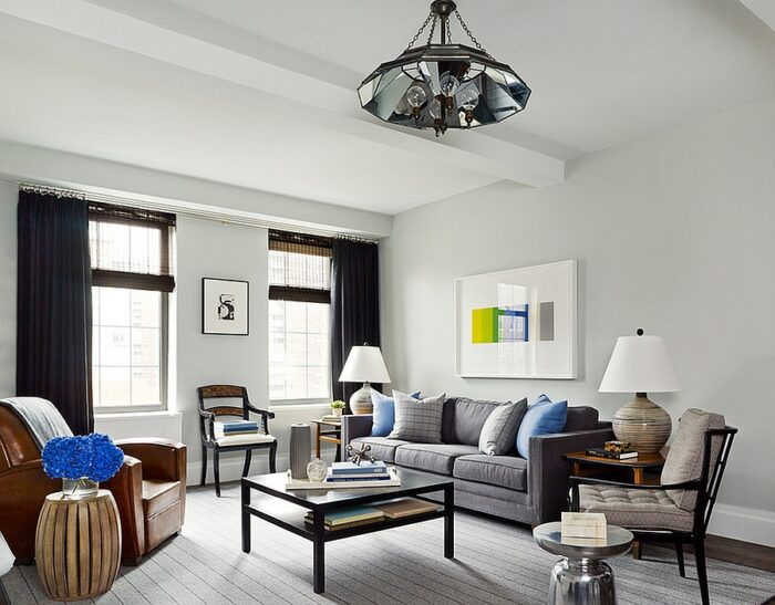Refreshing and airy living room with an uncluttered, masculine vibe [