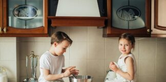 Children in kitchen